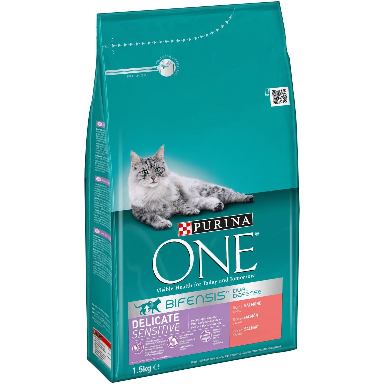 Purina ONE Bifensis Pienso para Gato Digestión Sensible Salmón y Cereales 1,5Kg
