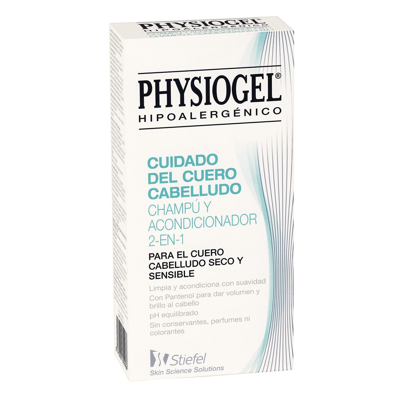 Champú y acondicionador 2 en 1 cuidado del cuero cabelludo Physiogel 250 ml.