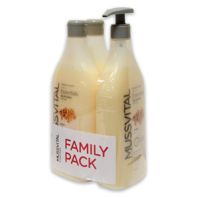 Gel dosificador de avena Essentials Hipoalergénico Mussvital pack de 3 unidades de 750 ml.