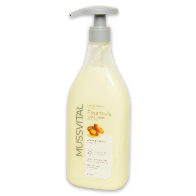 Loción corporal essentials aceite de argán Mussvital 400 ml.