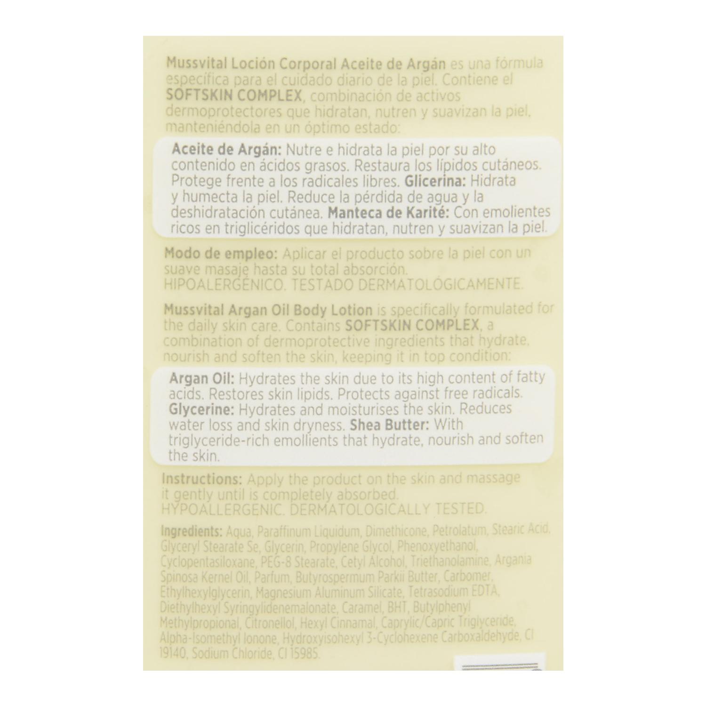 Loción corporal essentials aceite de argán Mussvital 400 ml. - 2