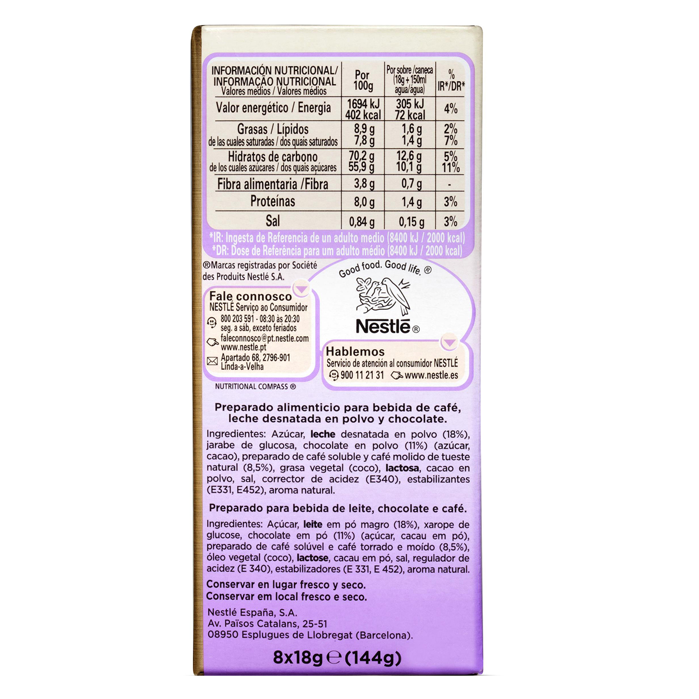 Café soluble natural vienés con chocolate Nescafé 144 g. -