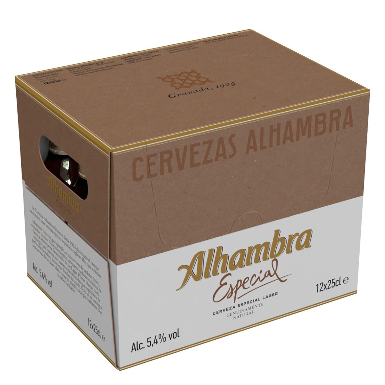Cerveza Alhambra Lager especial pack de 12 botellas de 25 cl.