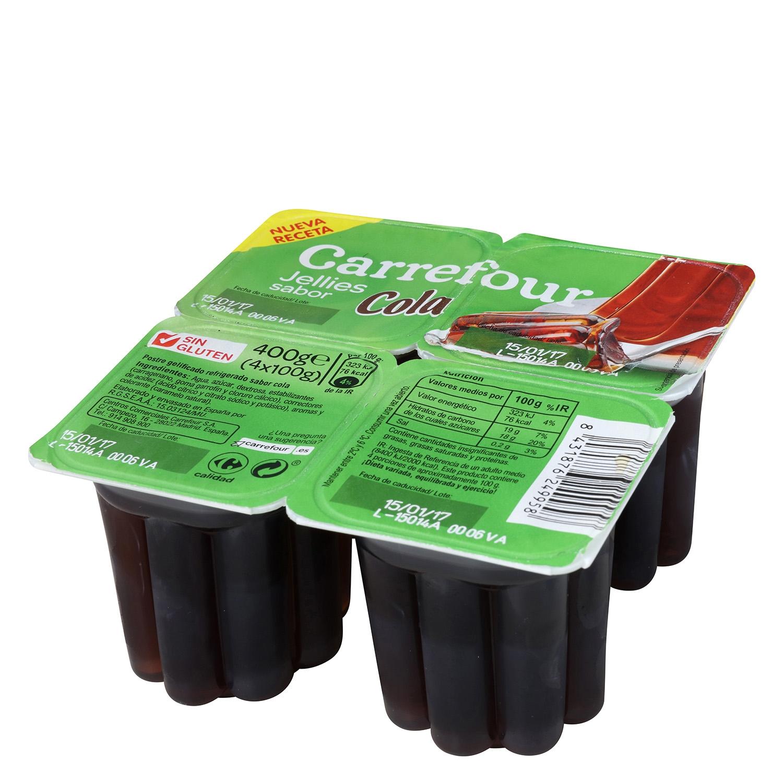 Gelatina sabor cola Carrefour pack de 4 unidades de 100 g.