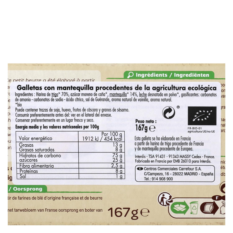 Galletas de mantequilla ecológicas Carrefour Bio 167 g. -