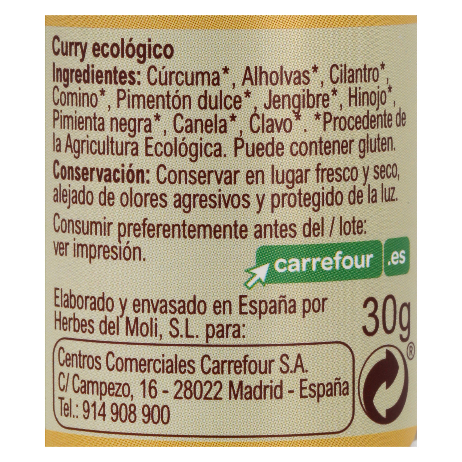 Curry ecológico Carrefour Bio 30 g. -
