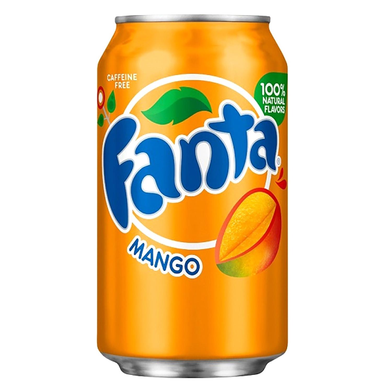 Refresco de mango Fanta con gas sin cafeína lata 35,5 cl.