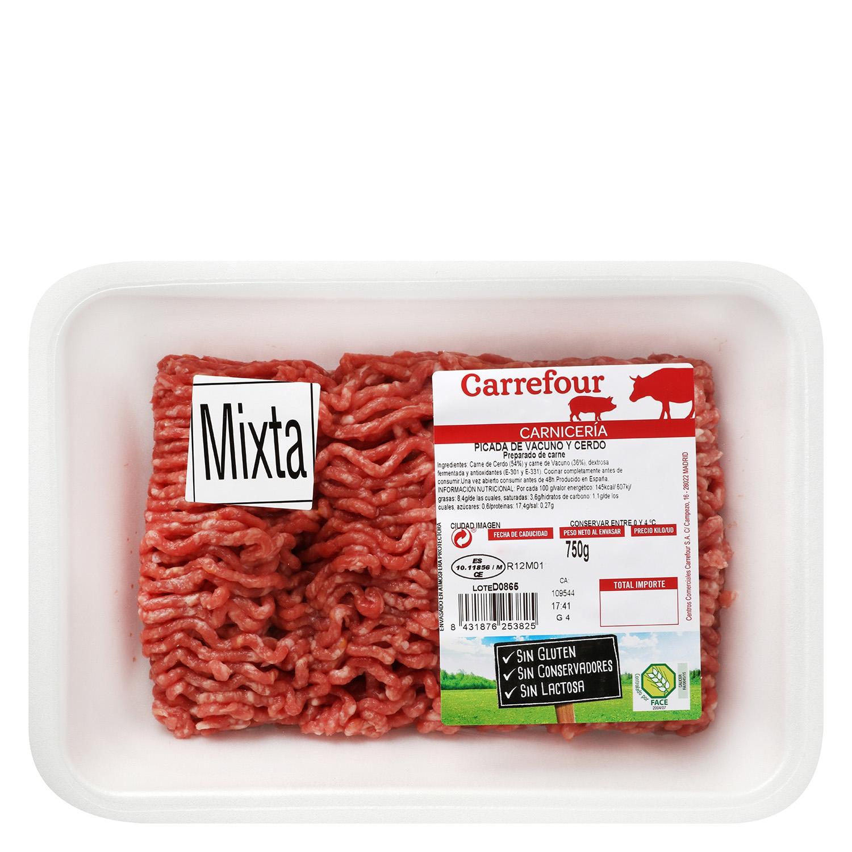 Carne Picada Mixta (Vacuno y Cerdo) Carrefour 750 g -