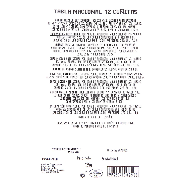 Tabla nacional Carrefour 12 cuñitas 125 g - 2
