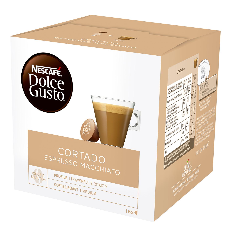 Café cortado espresso macchiato en cápsulas Nescafé Dolce Gusto 16 unidades de 6,3 g.