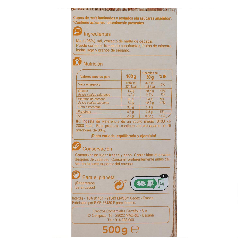 Cereales de maíz sin azúcar añadido Corn Flakes Carrefour 500 g. - 2