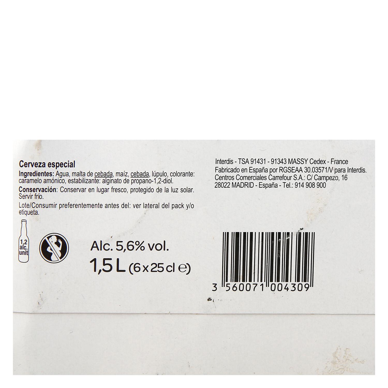 Cerveza Carrefour especial pack de 6 botellas de 25 cl. -