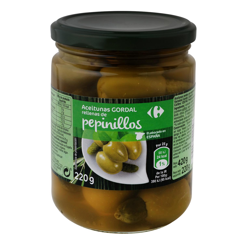 Aceitunas gordal rellenas de pepinillos Carrefour 220 g.