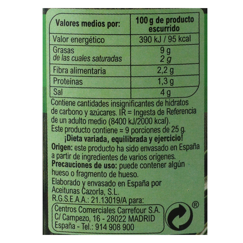 Aceitunas gordal rellenas de pepinillos Carrefour 220 g. -
