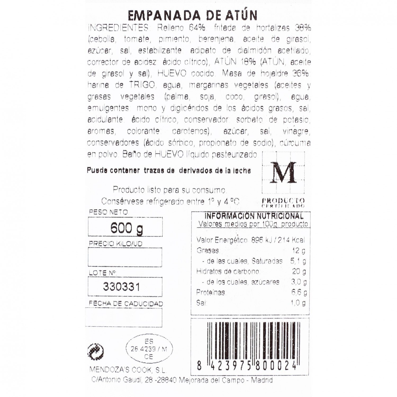 Empanada de hojaldre de atún Empanadas Mendoza 600 g. - 3
