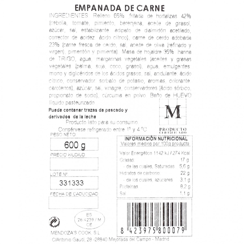 Empanada de hojaldre de carne Empanadas Mendoza 600 g. - 3