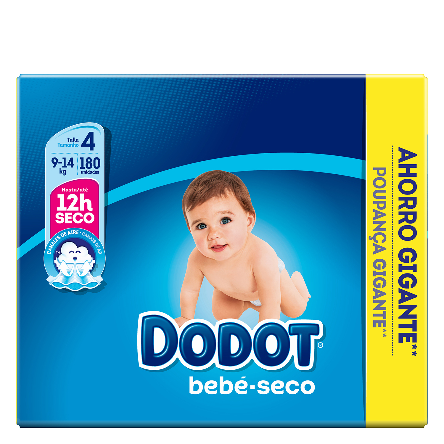 Pañales Dodot T4 (9kg-14kg.) 180 ud.