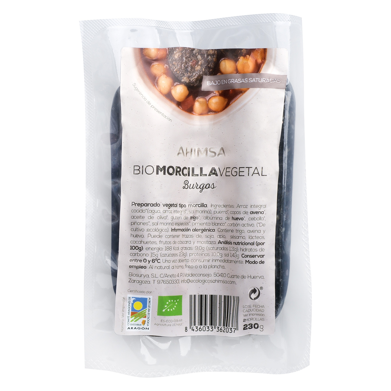 Morcilla vegetal ecológica Ahimsa 230 g.