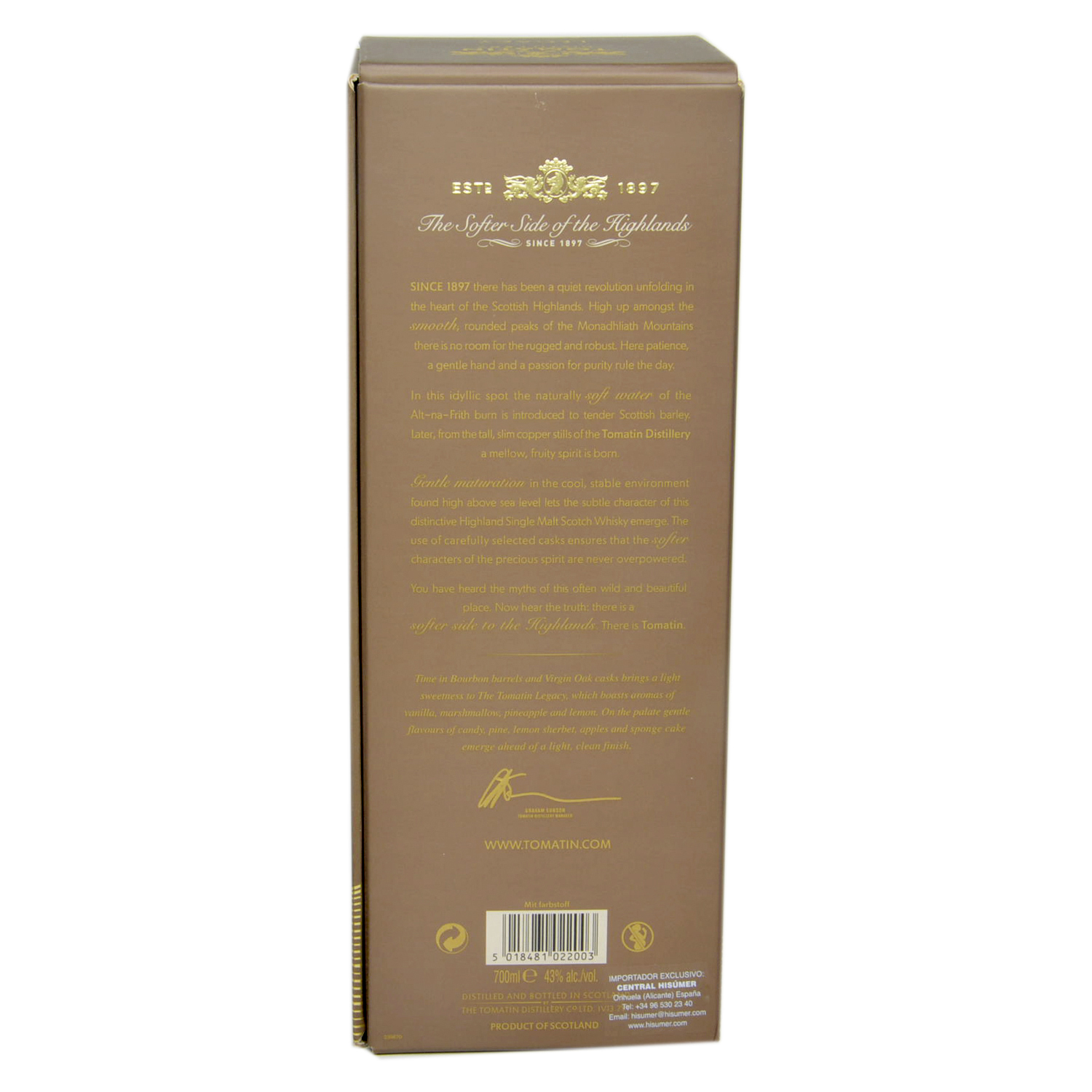 Whisky Tomatin escocés bourbon 70 cl. -