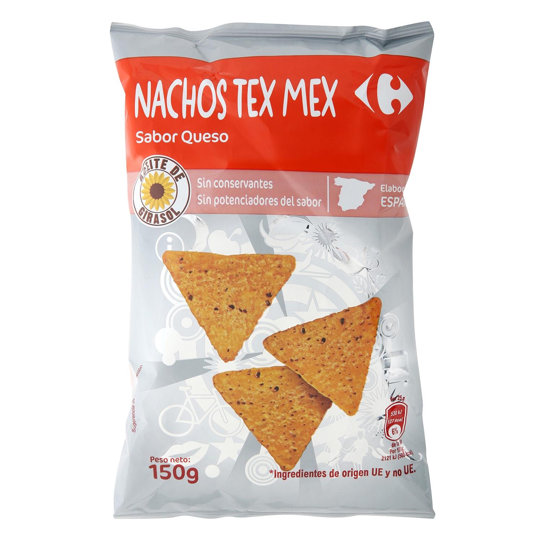 Nachos Tex Mex sabor queso Carrefour 150 g.