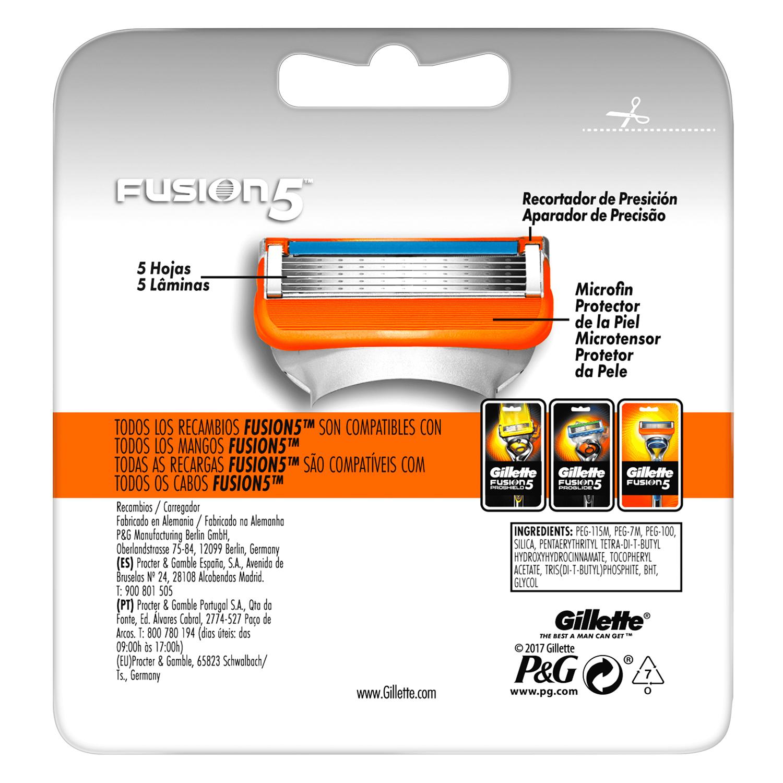Cargador para afeitar Fusion 5 Gilette 8 ud. -