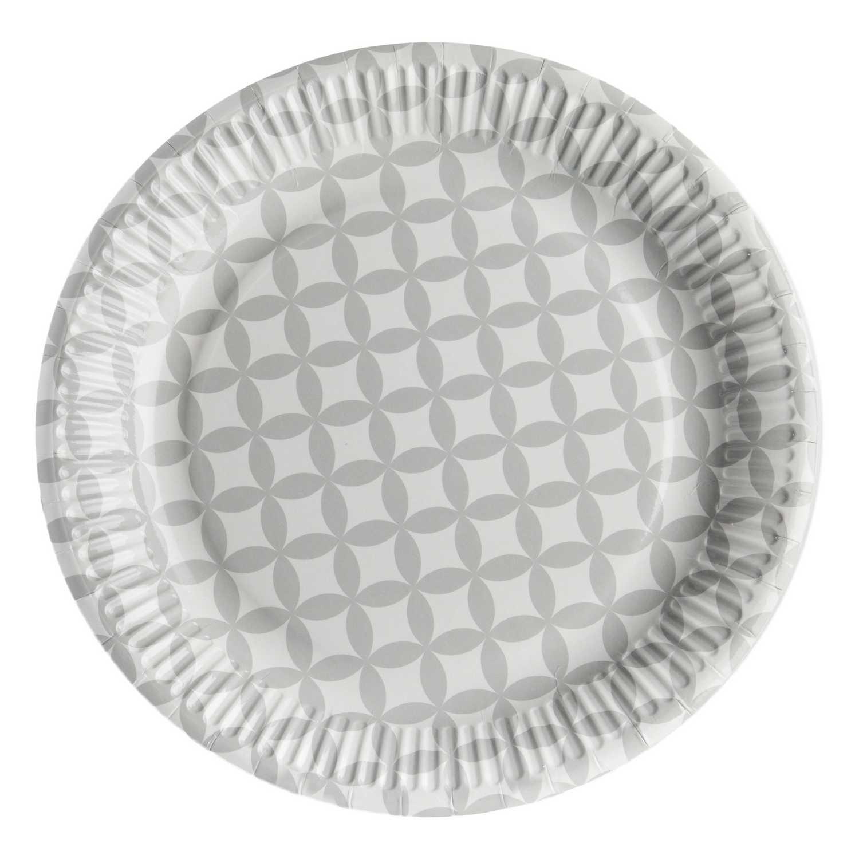 Set Platos Plástico CARREFOUR HOME  8 ud  23 cm -Rayas Gris