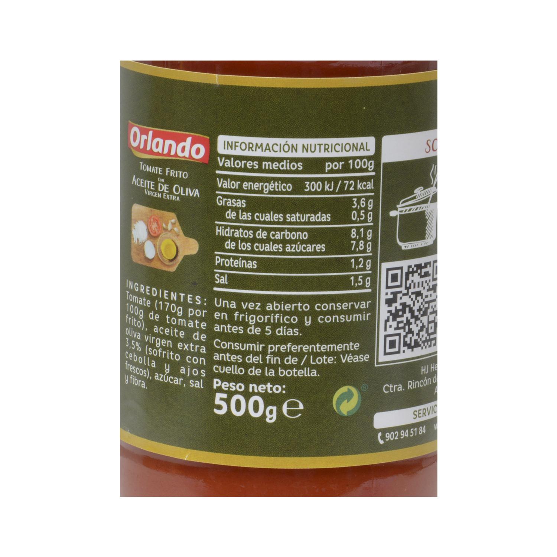 Tomate frito con aceite de oliva virgen extra Orlando sin gluten tarro 500 g. -