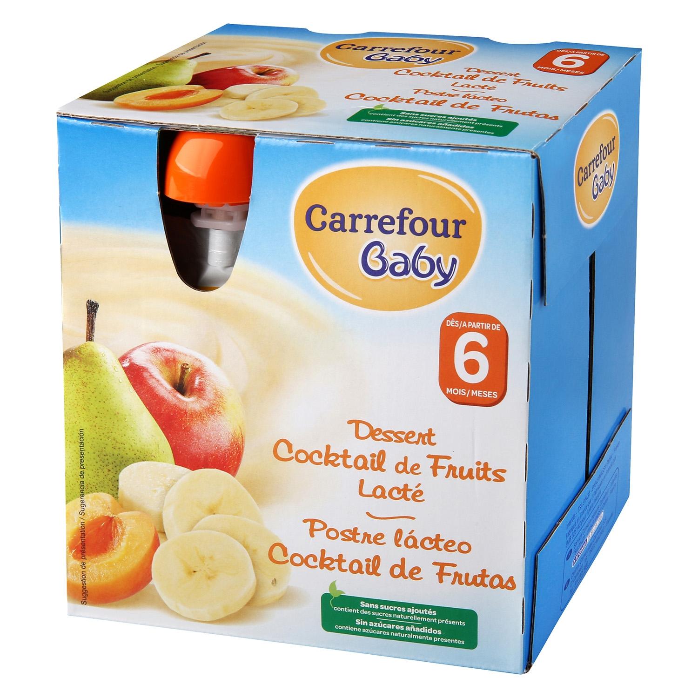 Postre lácteo Cocktail de frutas Carrefour Baby pack de 4 unidades de 85 g.