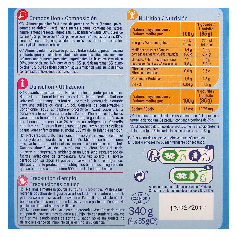Postre lácteo Cocktail de frutas Carrefour Baby pack de 4 unidades de 85 g. -