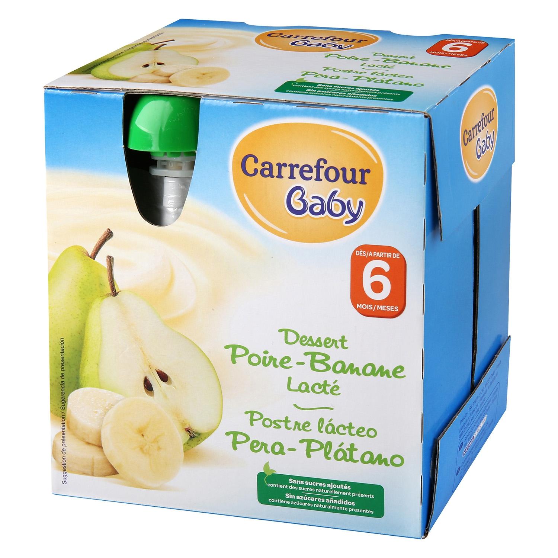 Postre lácteo de pera y plátano Carrefour Baby pack de 4 unidades de 85 g.