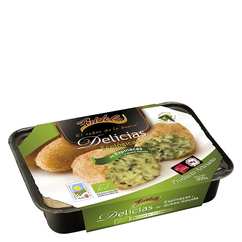 Delicias de espinacas y queso gouda ecológicas Fridela 300 g.
