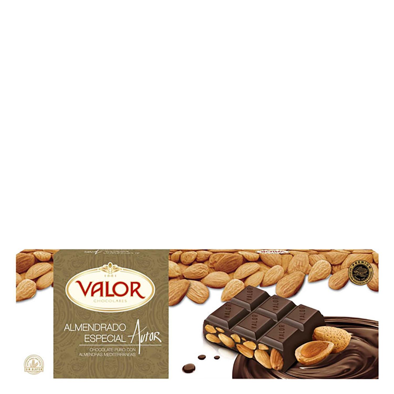 Chocolate puro con almendras mediterráneas Valor 500 g.