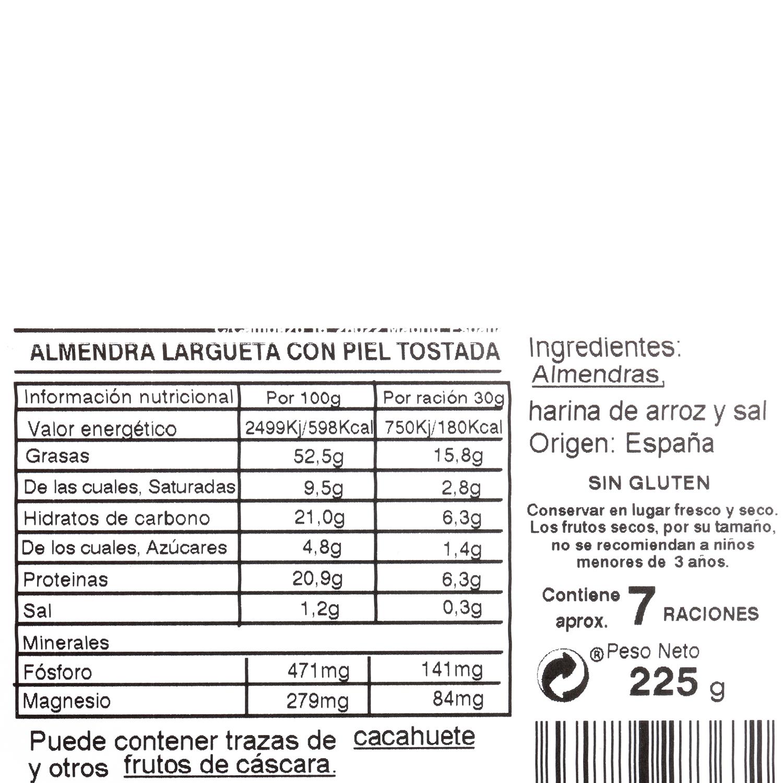 Almendra largeta piel tostada Carrefour tarrina 225 g - 3
