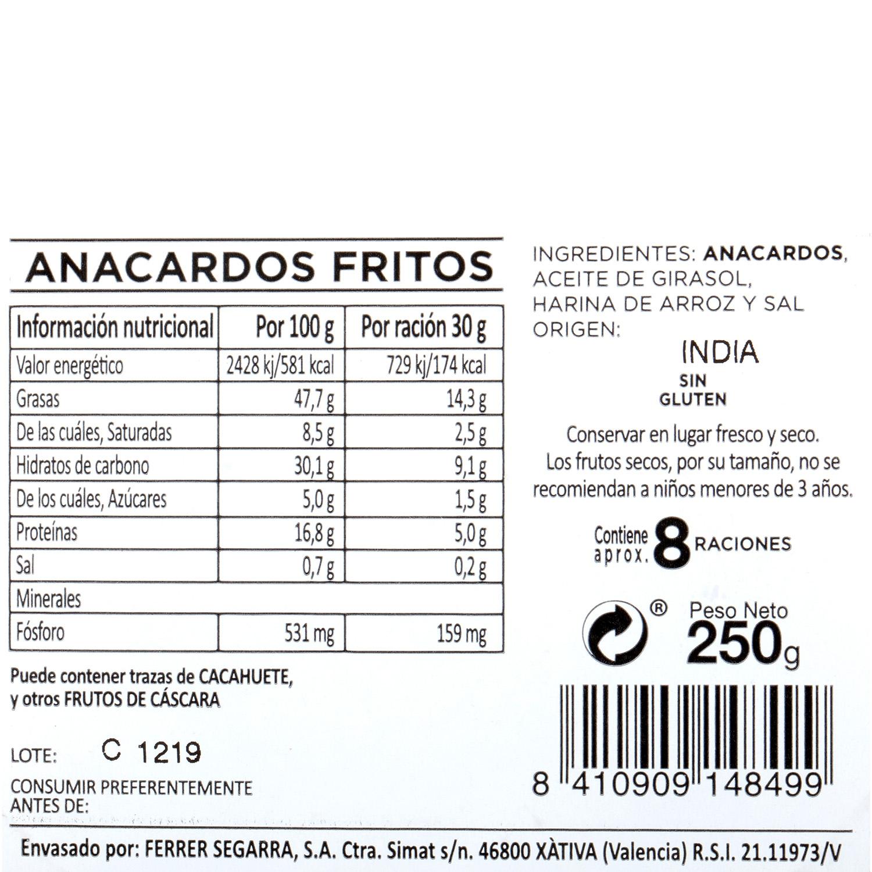 Anacardos fritos Carrefour tarrina 250 g - 3