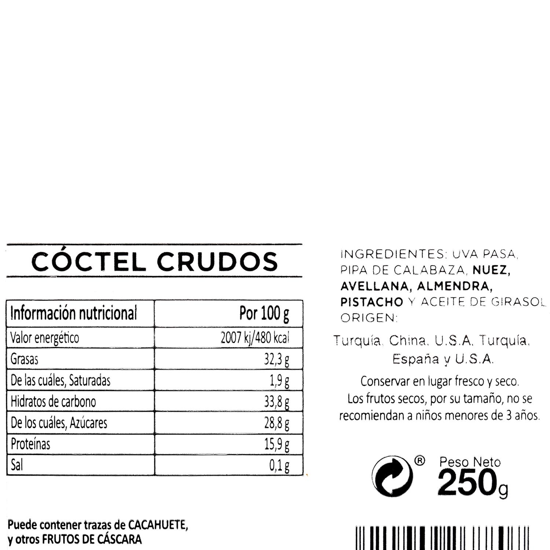 Coctel frutos secos crudos Carrefour tarrina 250 g (pasa, pipa calabaza, nuez, avellana, almendra y pistacho) - 3