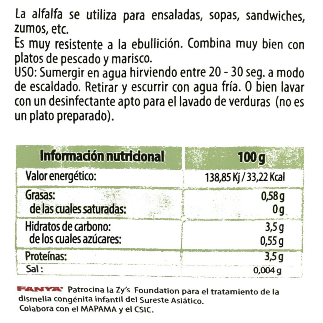 Brotes de alfalfa Fanya bandeja 100 g - 4