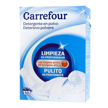 Detergente fresh en polvo Carrefour 50 cacitos.