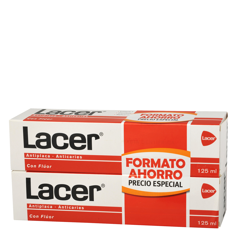 Dentífrico antiplaca y anticaries Lacer pack de 2 unidades de 125 ml.