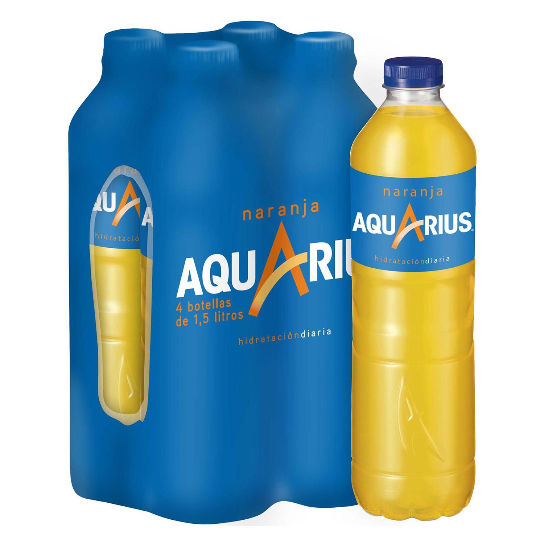 Bebida Isotónica Aquarius sabor naranja pack de 4 botellas de 1,5 l.