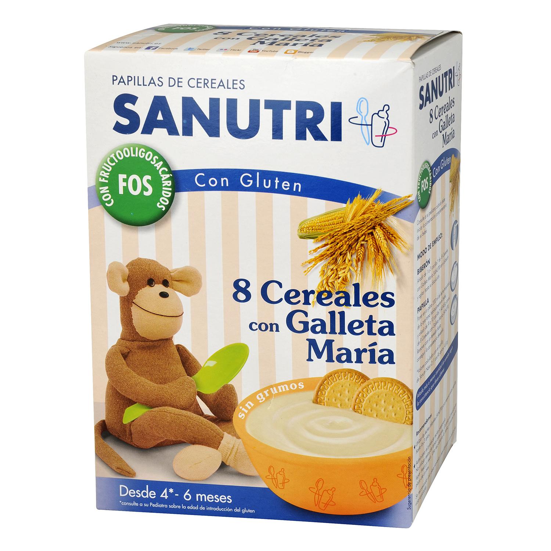 Papillas de 8 cereales con galleta maría Sanutri 600 g.