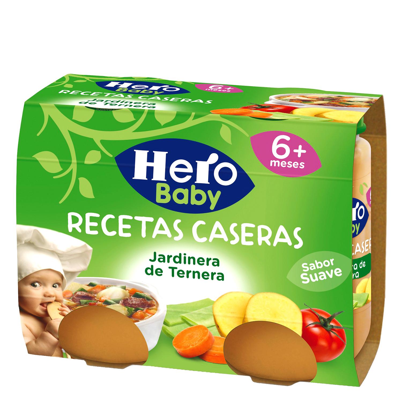 Tarrito de jardinera de ternera Hero Babyrecetas pack de 2 unidades de 200 g.