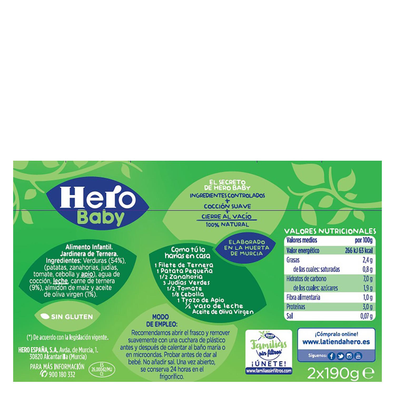 Tarrito de jardinera de ternera Hero Babyrecetas pack de 2 unidades de 200 g. -