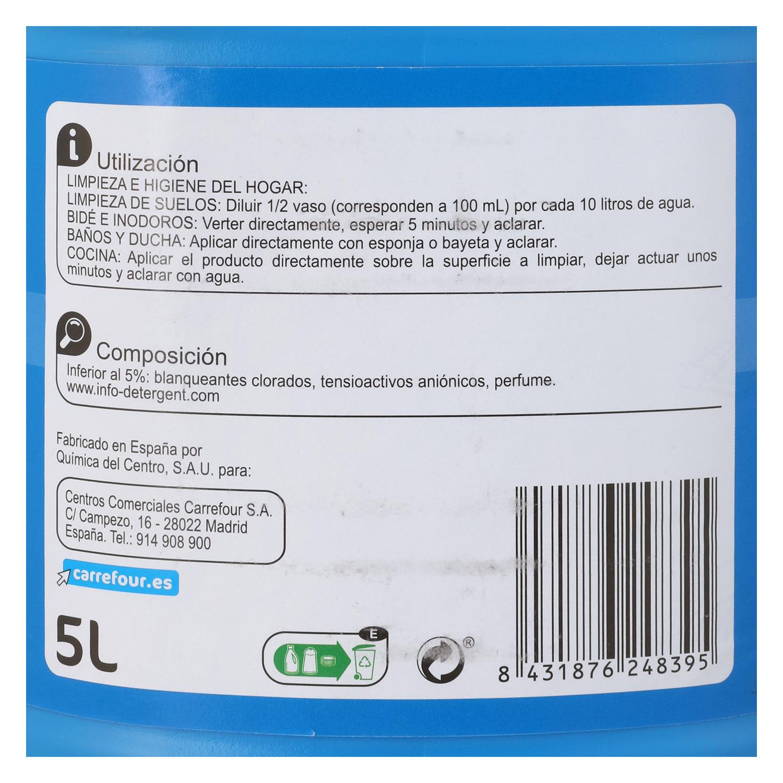 Lejía perfumada con detergente Frescor Marino Carrefour 5 l. -