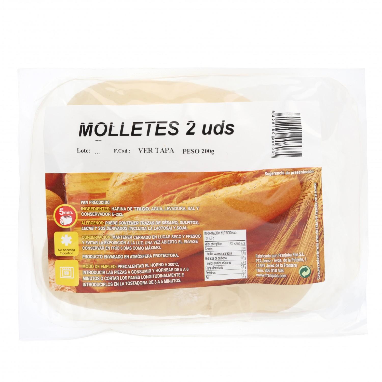 Molletes de pan 2 unidades de 100 g