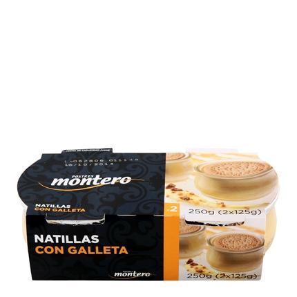 Natillas con galleta Montero pack de 2 unidades de 125 g.