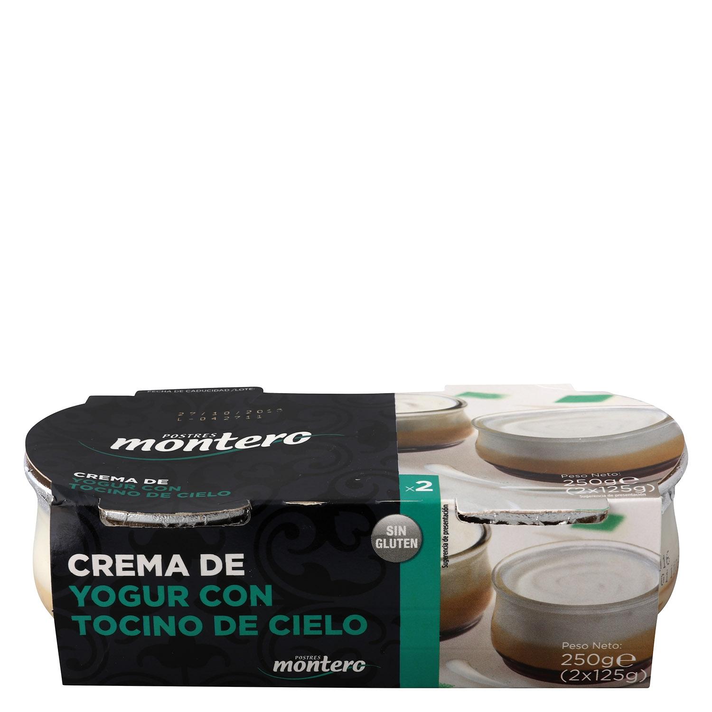 Crema de yogur con tocino de cielo Postres Montero sin gluten pack de 2 unidades de 125 g.
