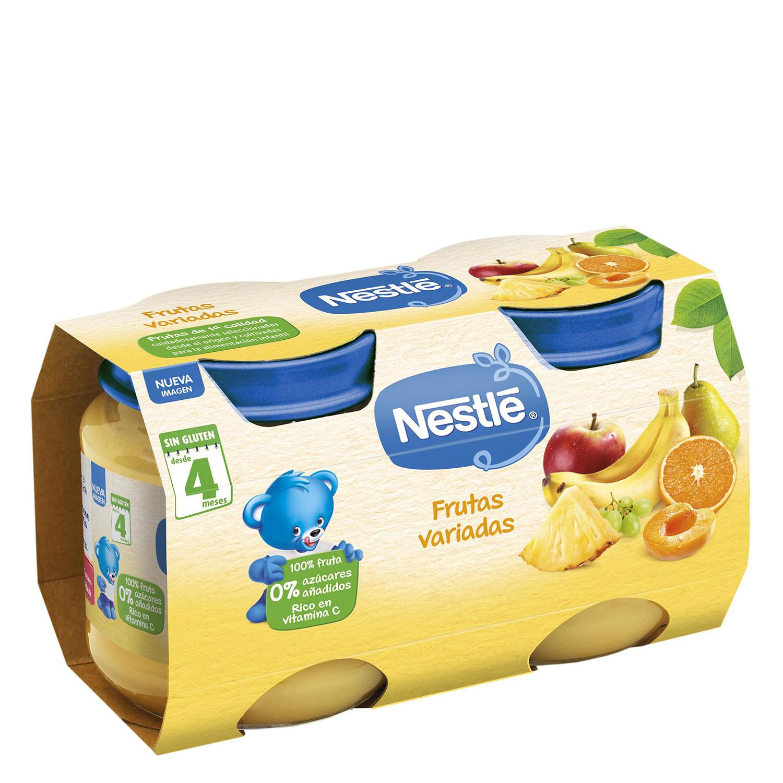 Tarrito de frutas variadas Nestlé sin gluten pack de 2 unidades de 130 g.