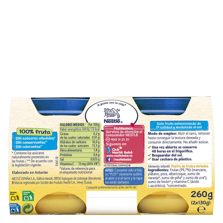 Tarrito de frutas variadas Nestlé sin gluten pack de 2 unidades de 130 g. -
