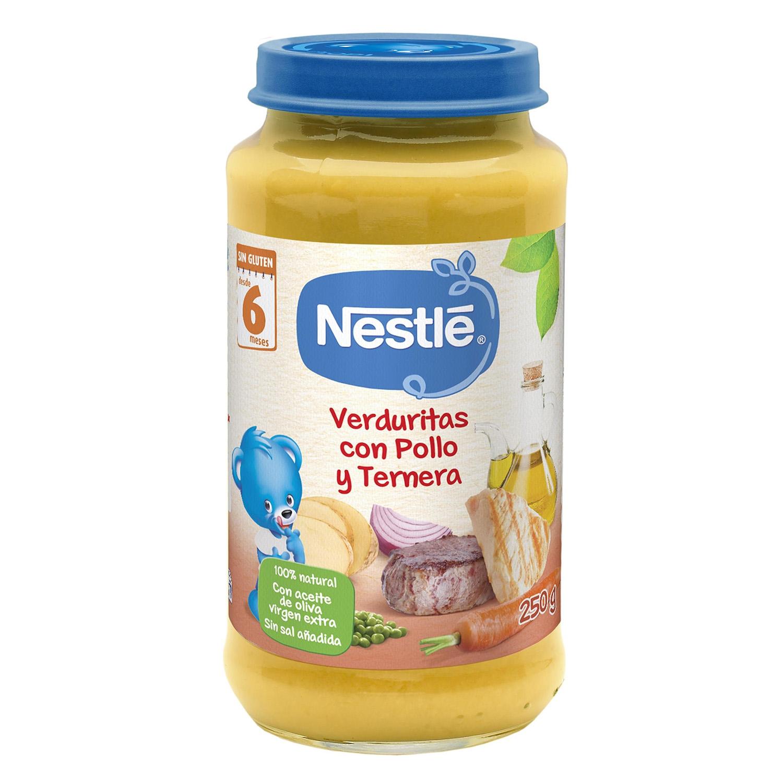 Tarrito de puré de verduras con pollo y ternera Nestlé sin gluten 250 g.