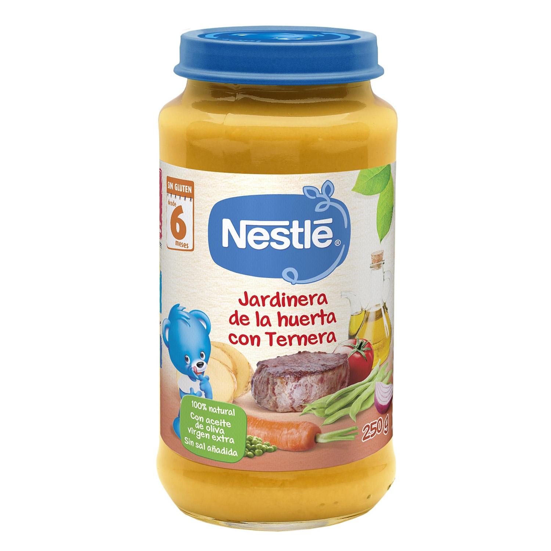 Tarrito de jardinera de ternera Nestlé sin gluten 250 g.